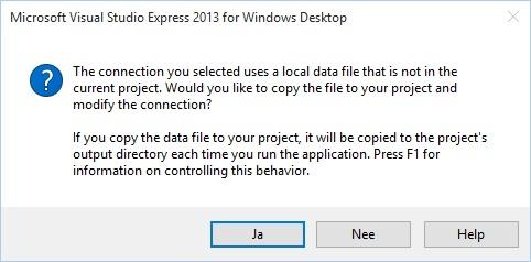 Figuur 23.5: Database NIET toevoegen aan project