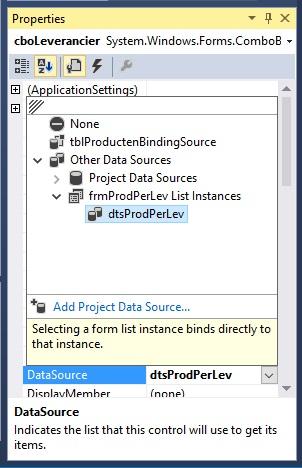 Oplossing oefening 24-1: DataSource ComboBox