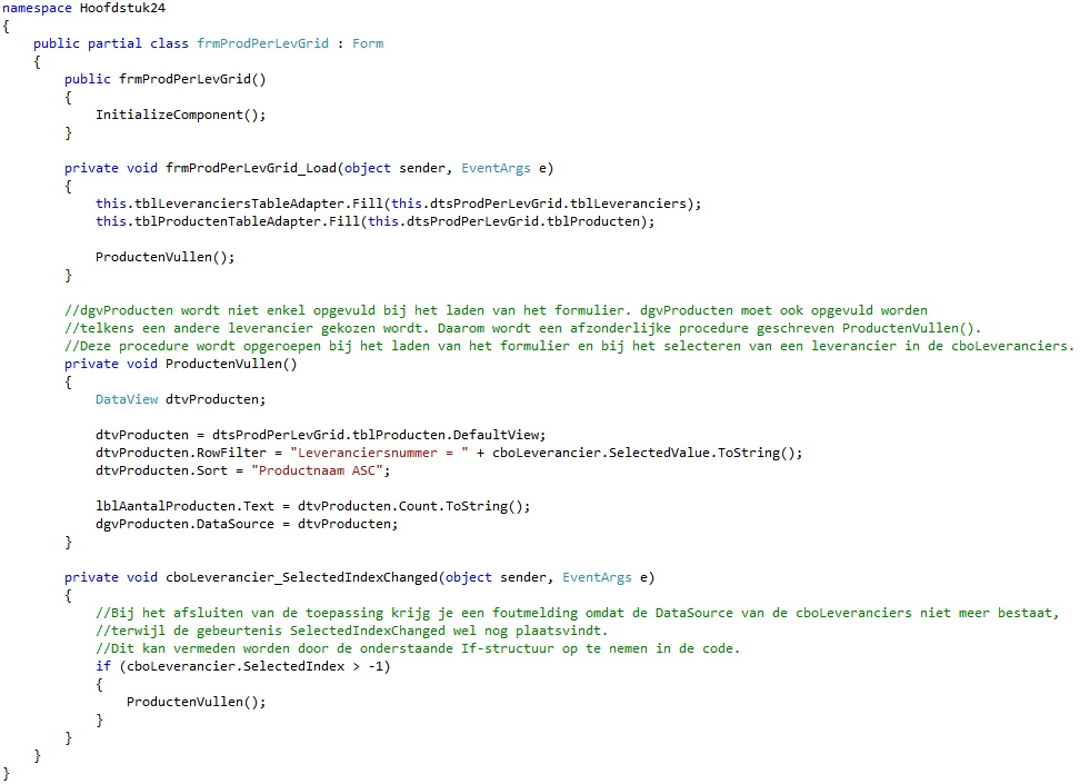 Oplossing oefening 24-2: Code