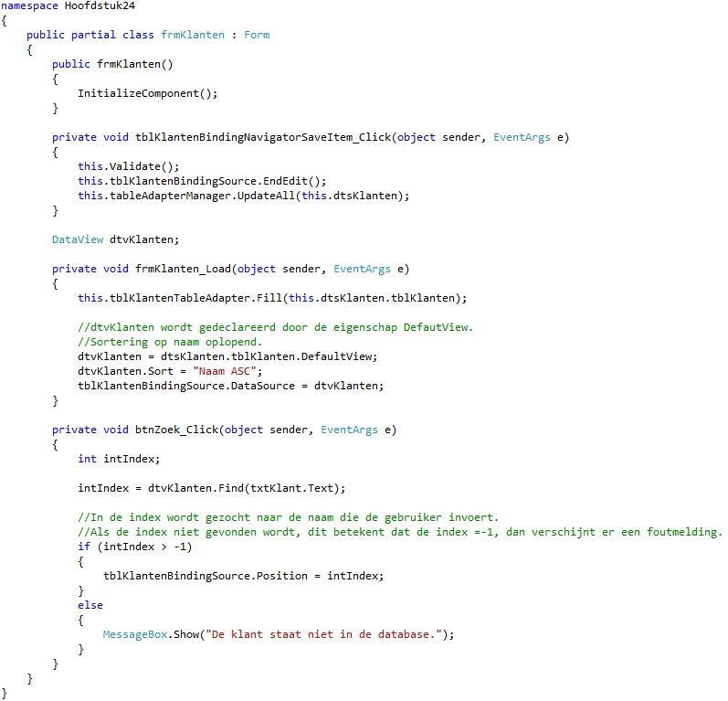 Oplossing oefening 24-3: Code