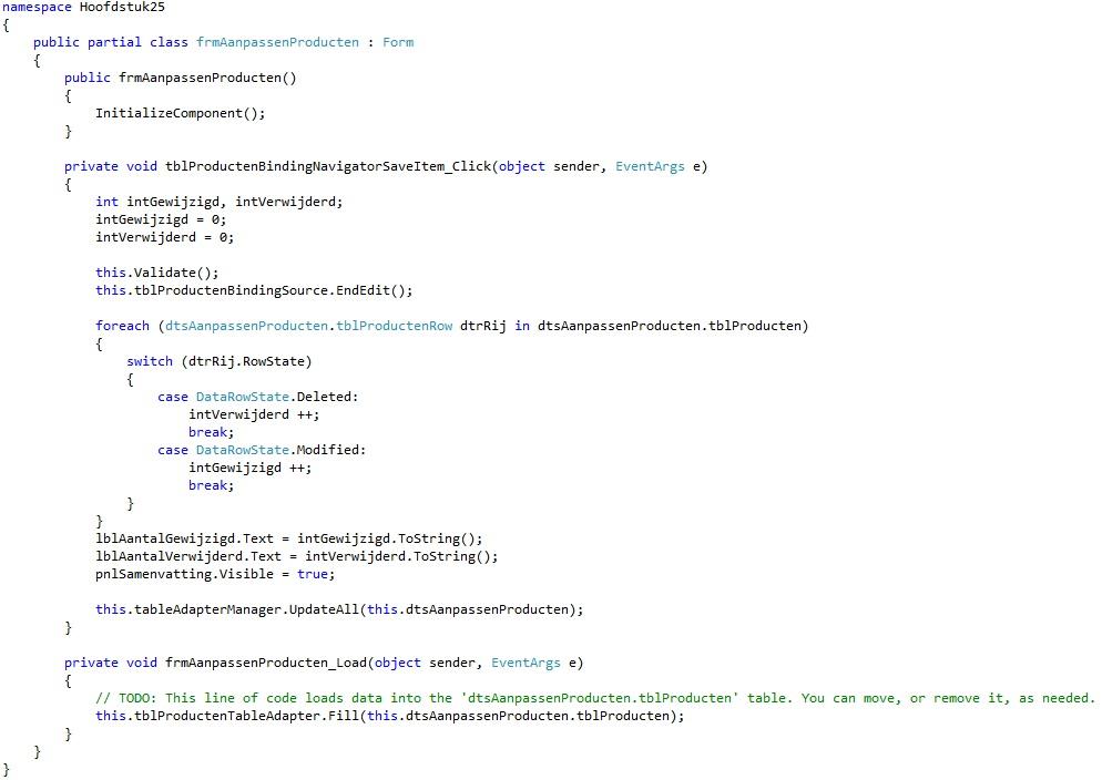 Oplossing oefening 25-1: Code