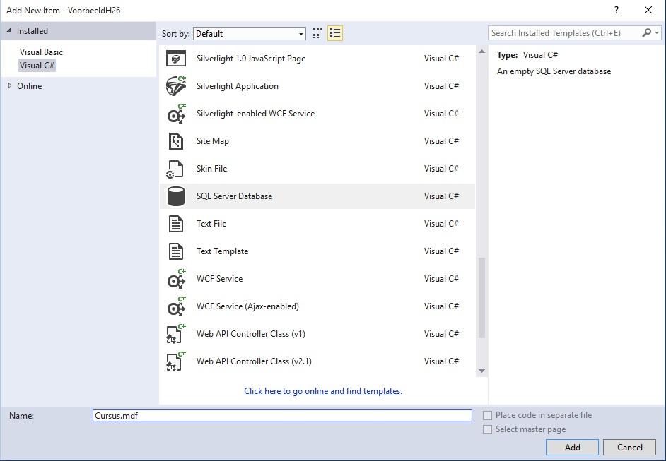 Figuur 26.2: Databank toevoegen aan website stap 2